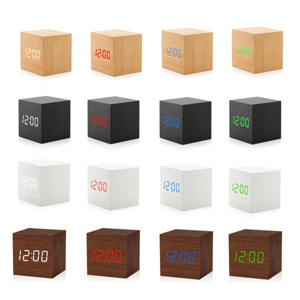 Cube Wooden LED Digital Clock