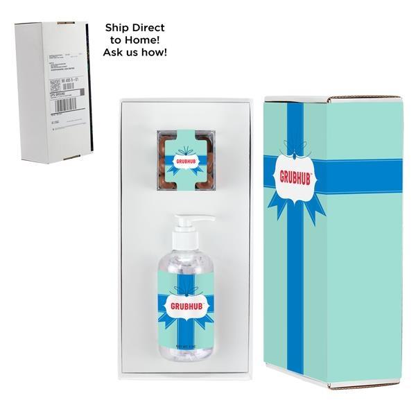 8 oz. Sanitizer & Milk Chocolate Almonds Cube in Mailer Box