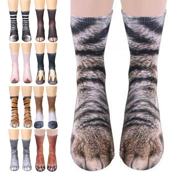 Unisex 3D Printed Socks Novelty Animal Paws Crew Socks