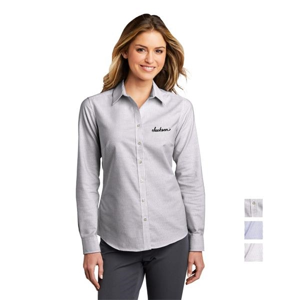 Port Authority® Ladies SuperPro™ Oxford Stripe Shirt