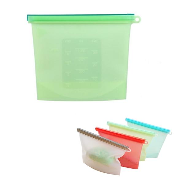 Reusable Silicone Food Bag with Plastic Slide