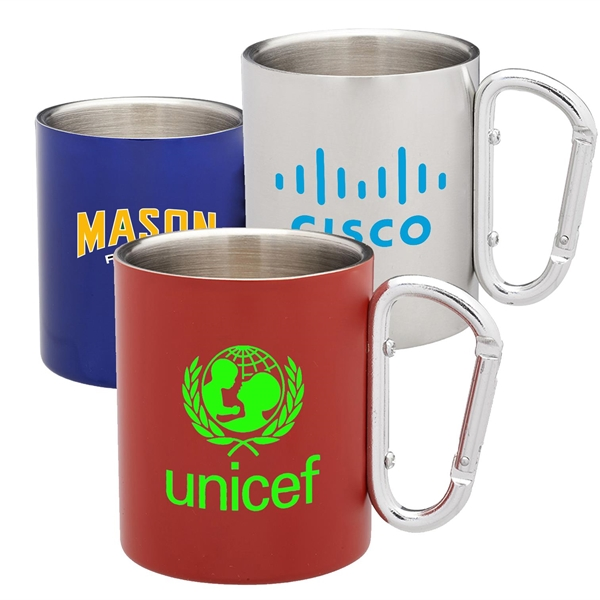 10 oz Stainless Steel Coffee Mugs w/ Custom Logo & Carabiner