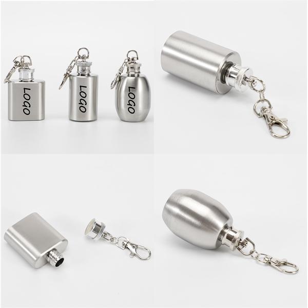 1oz Stainless Steel Flagon Wine Pot Keychain