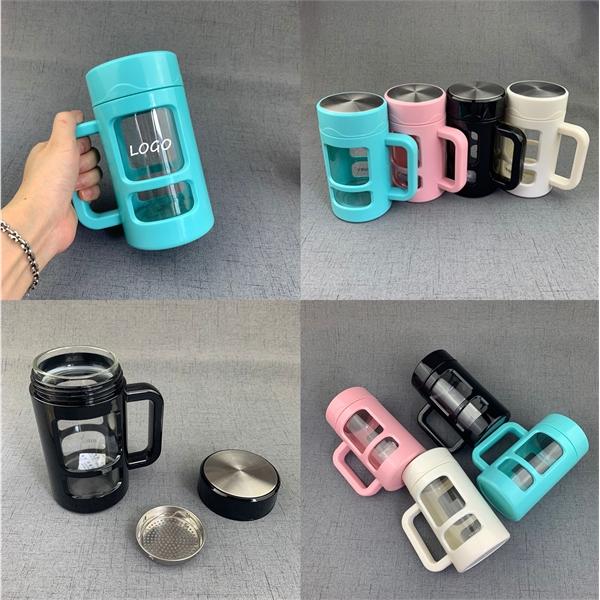 15oz Plastic Glass Handle Mug Filter Cup