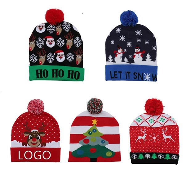 Christmas Caps Happy Holiday LED Knit Hat