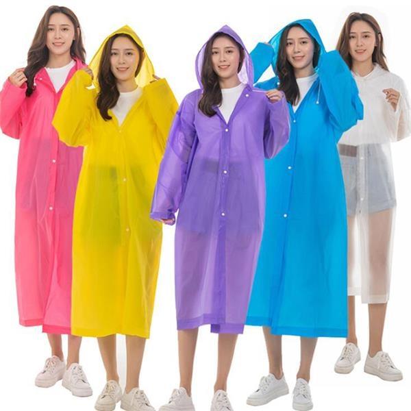 Reusable Translucent EVA Rain Ponchos with Hoods