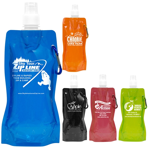 Roll Up 18 oz Foldable Water Bottle With Matching Carabiner
