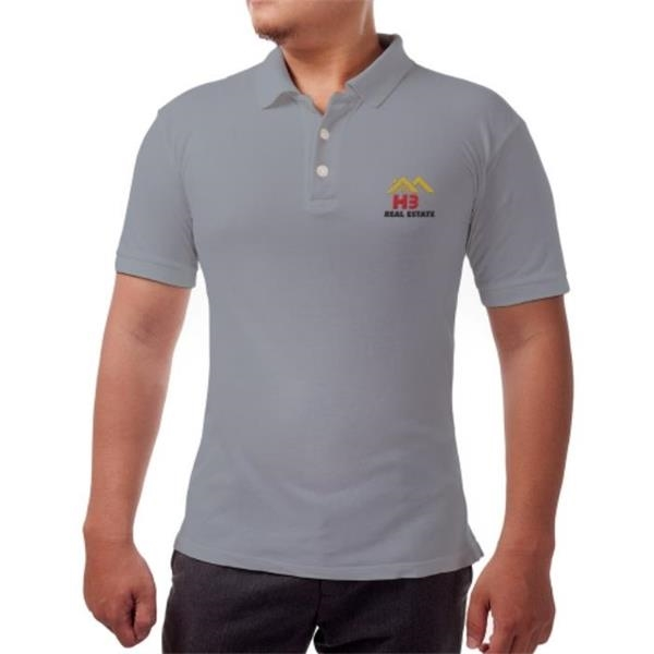 Men's Polo/Golf Shirt - Embroidered - Melange Grey