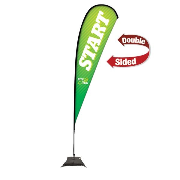 15' Premium Teardrop Sail Sign, 2-Sided, Scissor Base