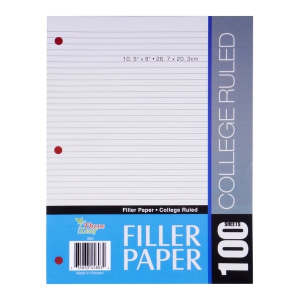 Three Leaf College Ruled Filler Paper  - 36 Count 100 Shee
