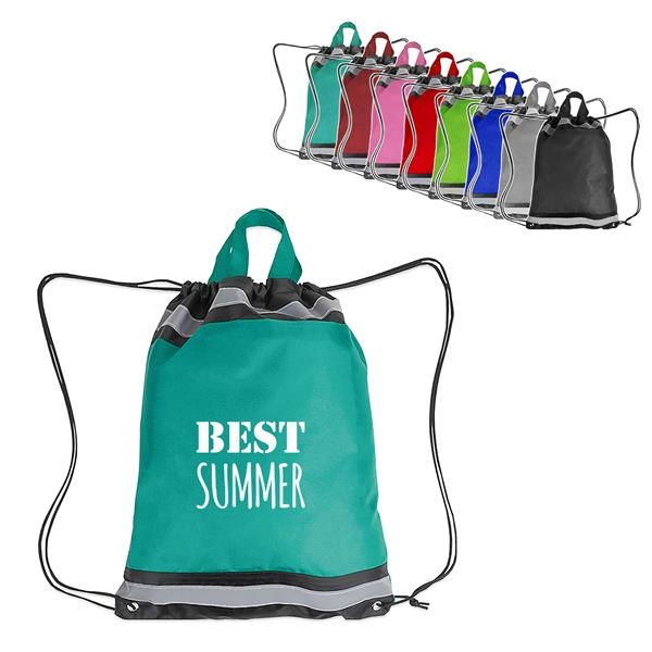 210D Polyester Drawstring Backpack with Reflective Stripe