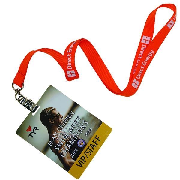 Combo Polyester Lanyards w/ PVC plastic ID Card Lanyard