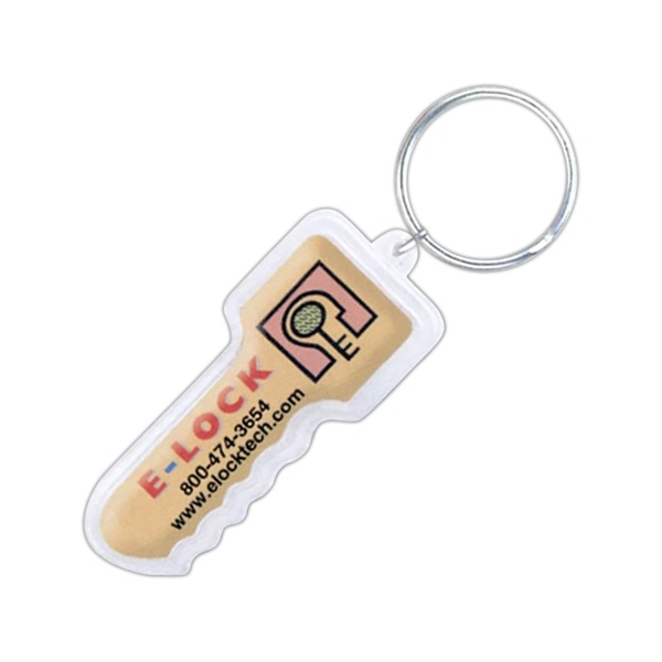 Key Shape Dome Keychain