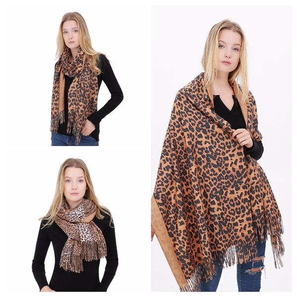 Leopard Print Shawls Women Winter Scarf