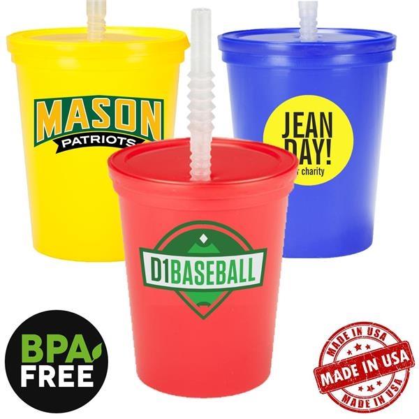 16 oz. USA made Stadium Cup w/ Lid & Straw BPA FREE Recycled