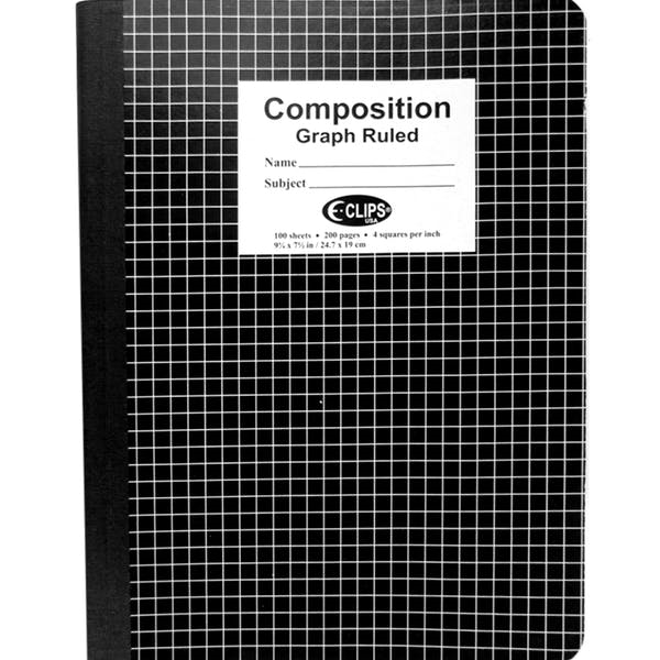 E-Clips Graph Ruled Composition Notebook -  48 Count 100 S
