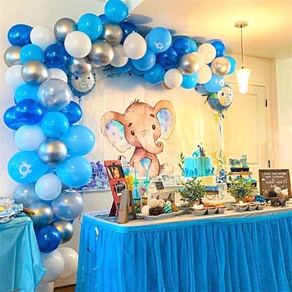 Blue White Silver Decoration Balloon Set