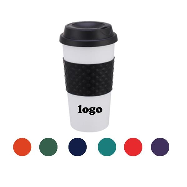 16 OZ Coffee Cup With Non-Slip Sleeve