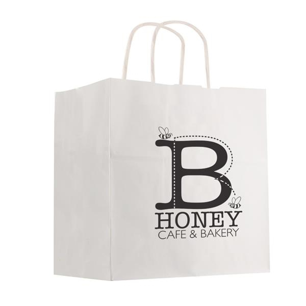 "Kraft Paper White Shopping Bag - 10"" x 10"""