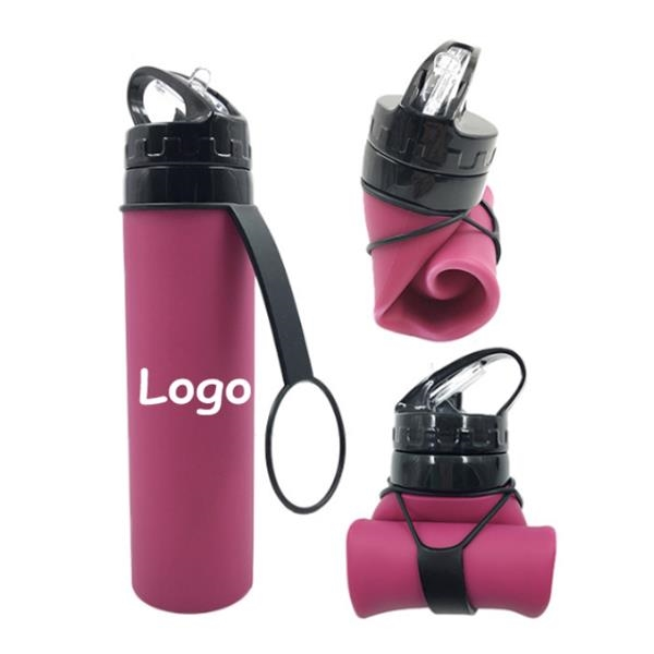 21 Oz Collapsible Sports Water Bottle Silicone Squeezable