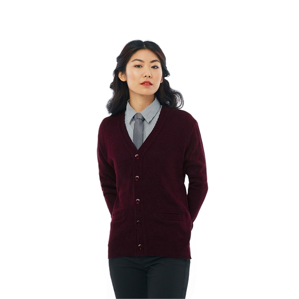 V-Neck Cardigan with Ribbed Waistband - Clearance