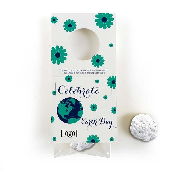 Earth Day Cardstock Bottle Necker with 1 seed bomb