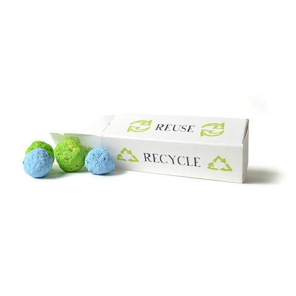 Earth Day Cardstock Gift Box with 4 Seed Bombs inside.