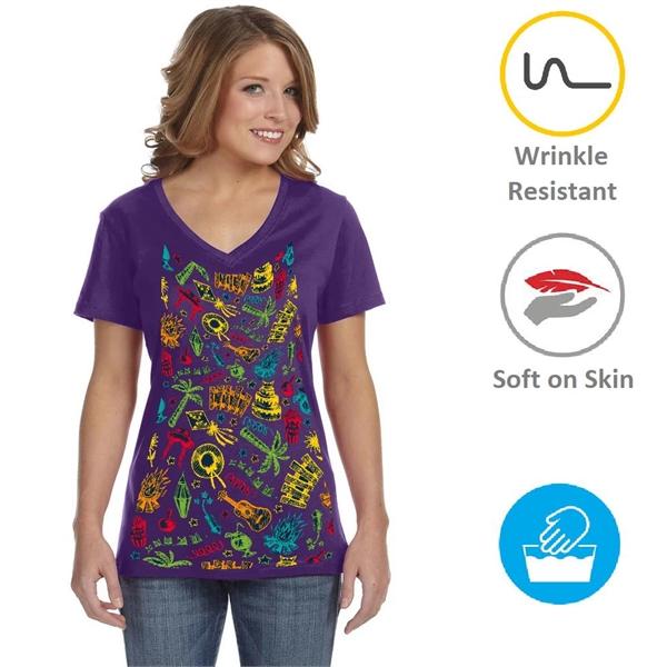 Women's V-Neck T-Shirts w/ Edge to Edge Sublimation Tshirts