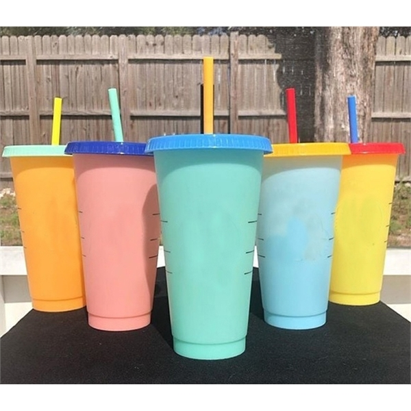 24oz PP Color Changing Cup with Lid and Straw