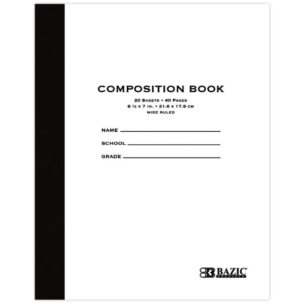 BAZIC Wide Ruled Composition Book - 48 Count 20 Sheets Whi