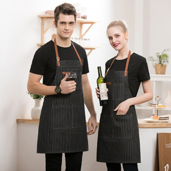 Denim Bib Apron With Leather Strap