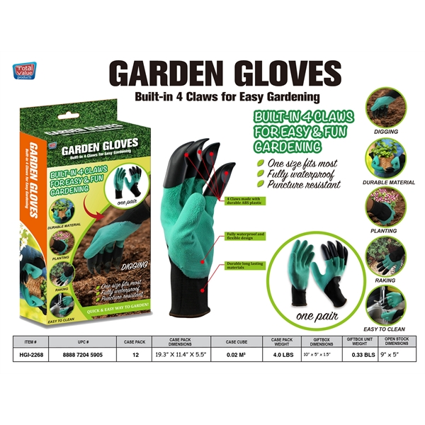 2 Pc Quick Easy Garden Gloves Set