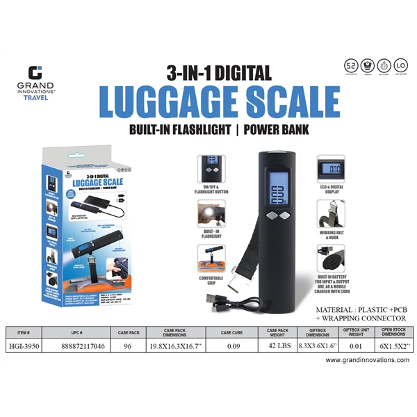 3 In 1 Digital Luggage Scale
