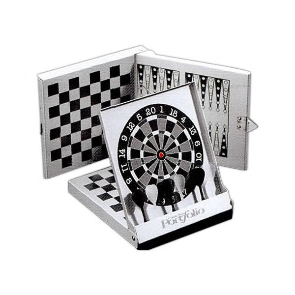 Three-in-one-magnetic Game, Features Backgammon. Checkers And Darts Photo