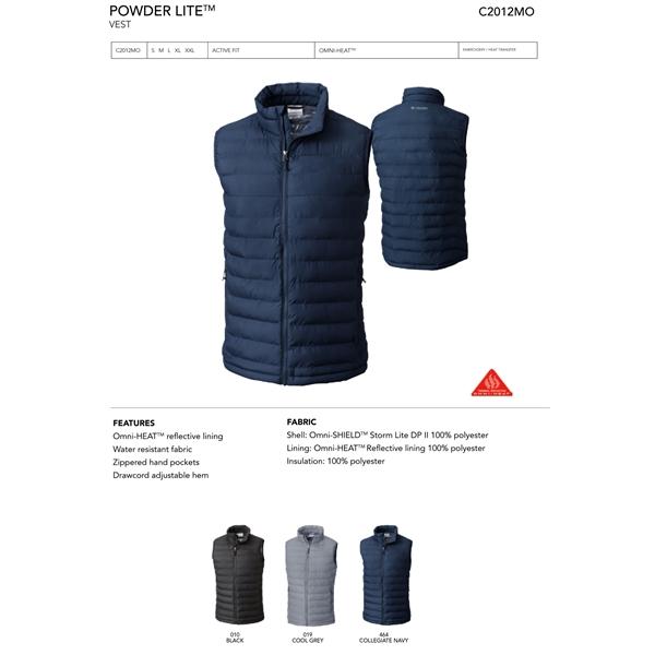 Columbia Powder Lite Full Zip Vest-Blank