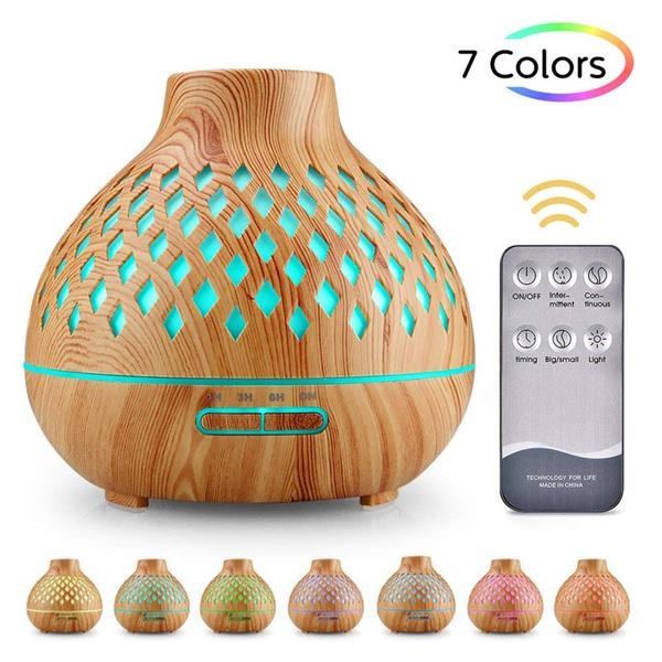 Hollow Wood Grain therapy Humidifier Auto-Off for Home