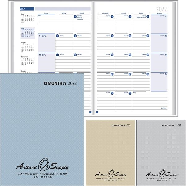 Ruled Monthly Format Stitched to Paper Cover Desk Planner