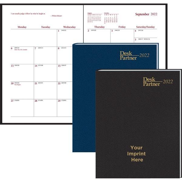 Desk Partner Monthly Stitched to Cover Desk Planner