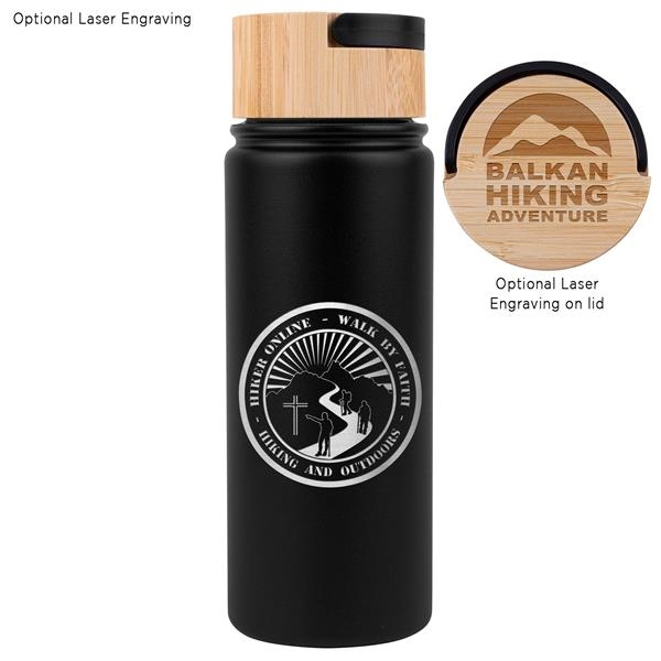 20 oz. Vacuum-Sealed Stainless Water Bottle with Bamboo Lid