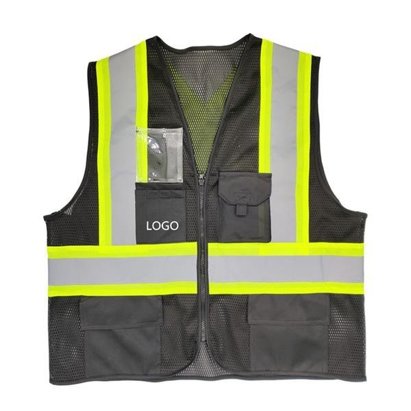 5 Pockets High Visibility Black Mesh Safety Vest