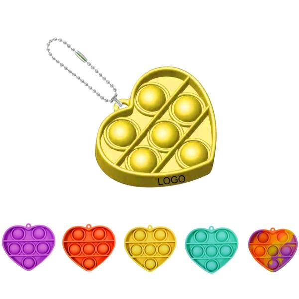 Heart-shaped Bubble Sensory Fidget Toy Keychain