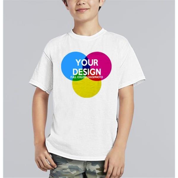 3-Piece Low Min Gildan 5.3 Oz. Full Color White Kids T Shirt