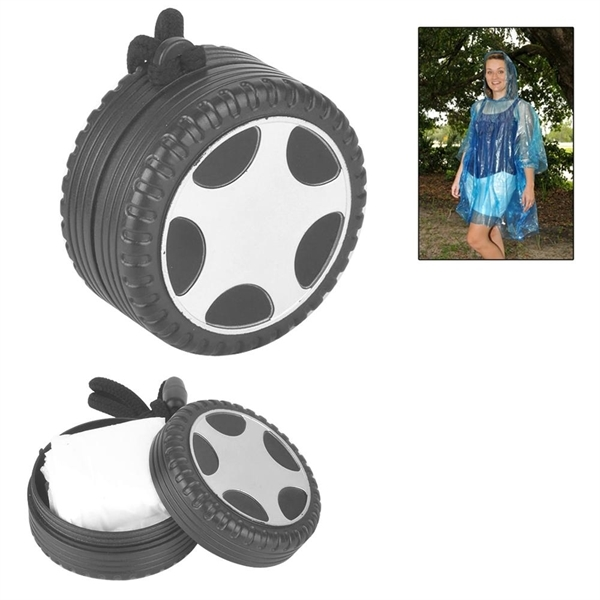 Disposable Waterproof Poncho Packed in Tire Shaped Case