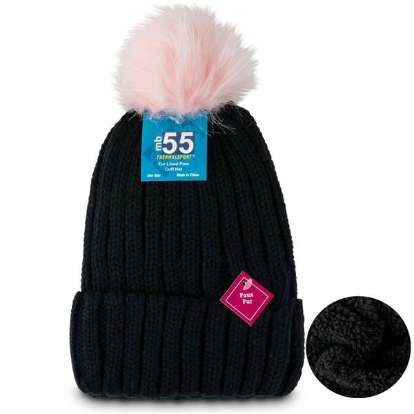 Faux Fur Lined Pom Cuff Hats - Black