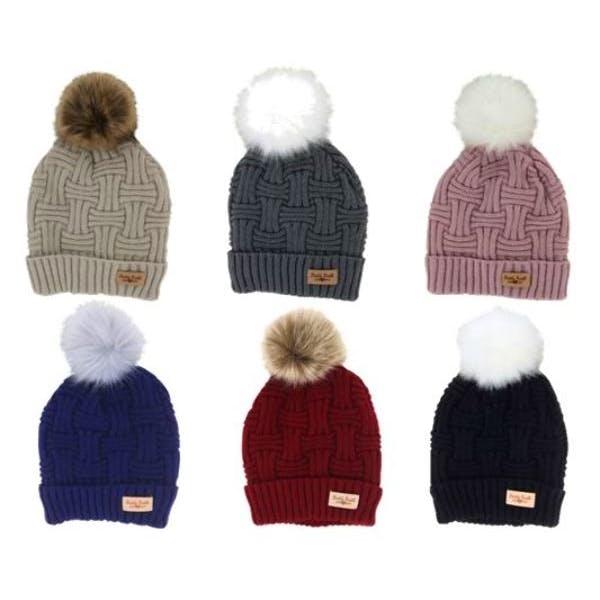 Britt's Knits Plush Lined Pom  Knit Hats