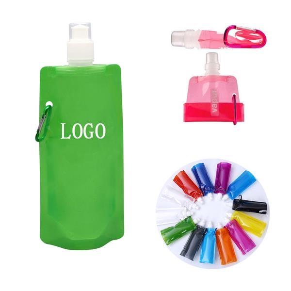 Gym Folding Water Bottle w/ Carabiner - 16 Oz