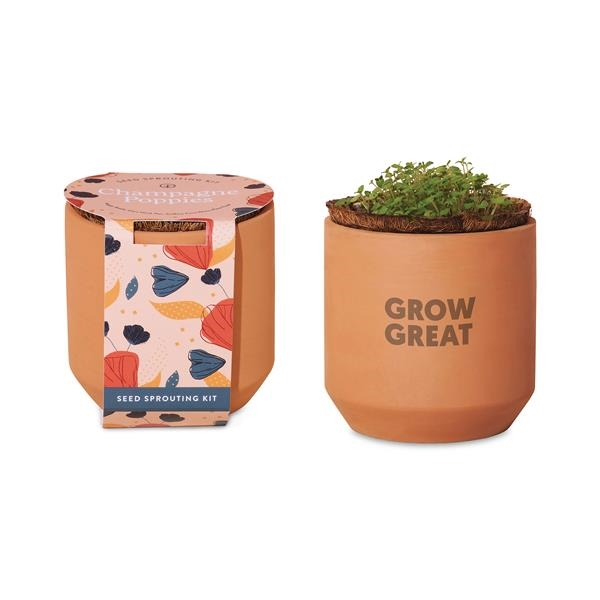 Modern Sprout® Tiny Terracotta Grow Kit Champagne Poppies