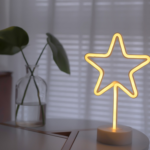 USB and  Batteries warm white neon light with a base