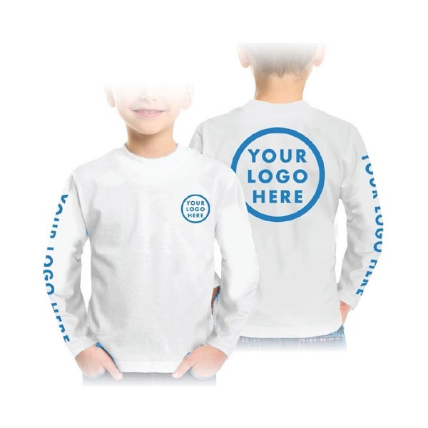 Youth White Fabric Printed Performance Shirts