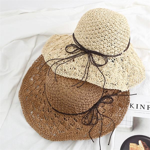 Women Beach Sun Protective Tide Straw Hat With Satin